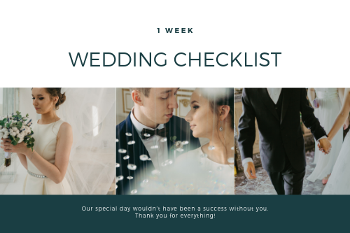 1 Week To D-day - Wedding Checklist - Westlane Place